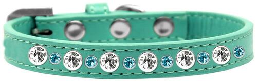 Posh Jeweled Dog Collar Aqua Size 14