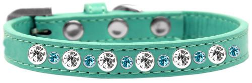 Posh Jeweled Dog Collar Aqua Size 12