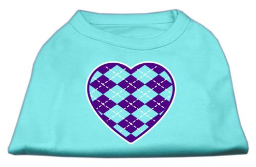 Argyle Heart Purple Screen Print Shirt Aqua Med (12)