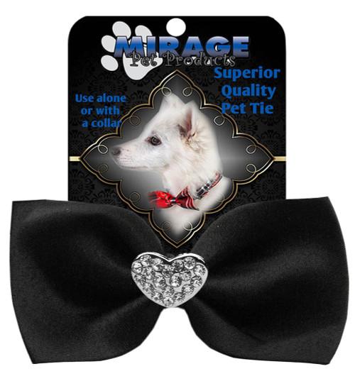 Crystal Heart Widget Pet Bowtie Black