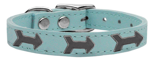 Arrow Widget Genuine Leather Dog Collar Baby Blue 12