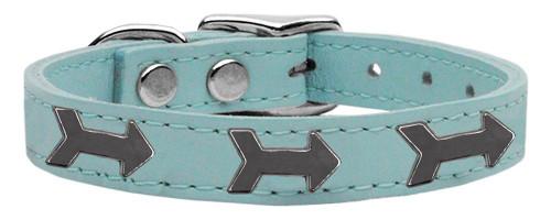 Arrow Widget Genuine Leather Dog Collar Baby Blue 10