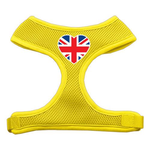 Heart Flag Uk Screen Print Soft Mesh Harness Yellow Large