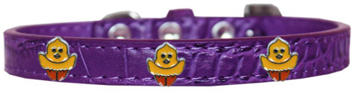 Chickadee Widget Croc Dog Collar Purple Size 18