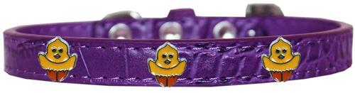 Chickadee Widget Croc Dog Collar Purple Size 14