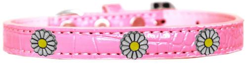White Daisy Widget Croc Dog Collar Light Pink Size 20