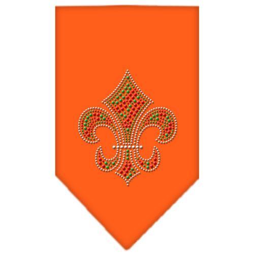 Christmas Fleur De Lis Rhinestone Bandana Orange Small