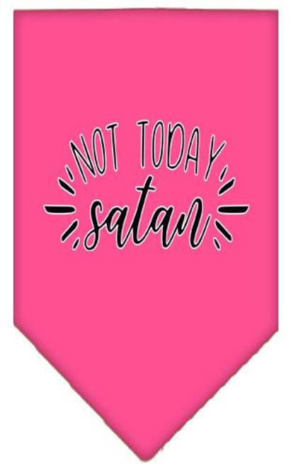 Not Today Satan Screen Print Bandana Bright Pink Small