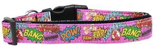 Superhero Sound Effects Pink Nylon Dog Collar Large
