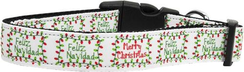 Feliz Navidad Nylon Dog Collars Medium
