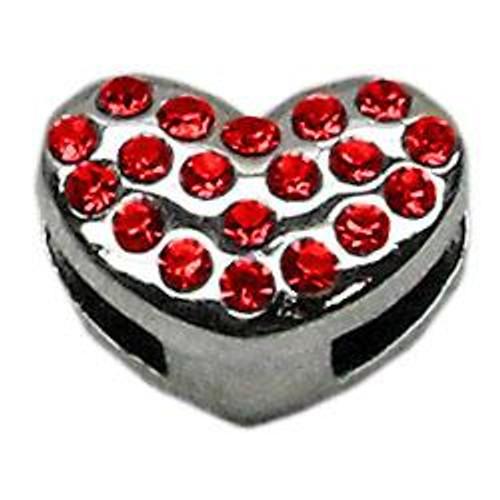 "3/8"" Slider Puffy Heart Charm Red"