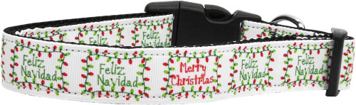 Feliz Navidad Nylon Dog Collars Large