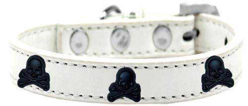 Skull Widget Dog Collar White Size 16