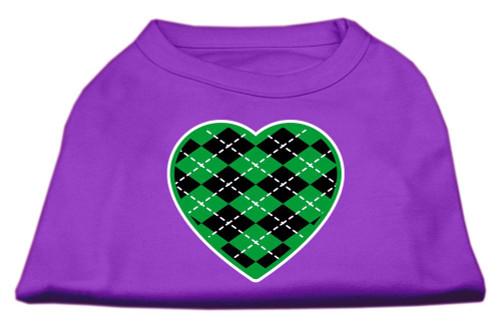 Argyle Heart Green Screen Print Shirt Purple Lg (14)