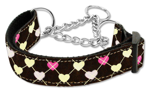 Argyle Hearts Nylon Ribbon Collar Martingale Brown Large