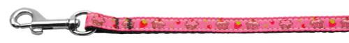 Cupcakes Nylon Ribbon Leash Bright Pink 3/8 Wide 6ft Long