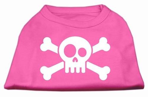Skull Crossbone Screen Print Shirt Bright Pink Xs (8)