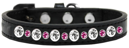Posh Jeweled Dog Collar Black With Bright Pink Size 16