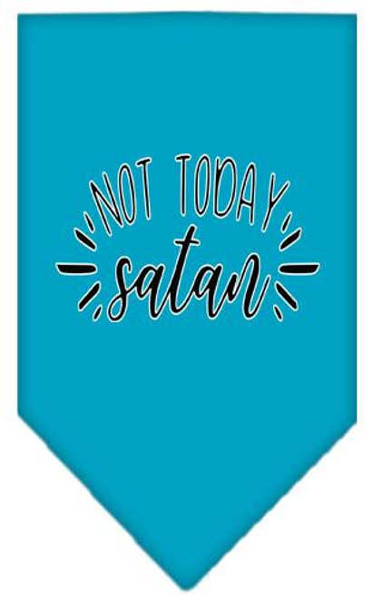 Not Today Satan Screen Print Bandana Turquoise Small