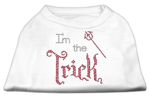 I'm The Trick Rhinestone Dog Shirt White Lg (14)