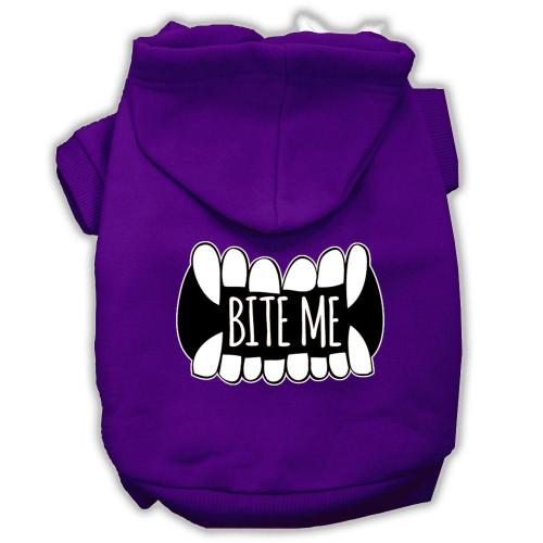 Bite Me Screenprint Dog Hoodie Purple S (10)