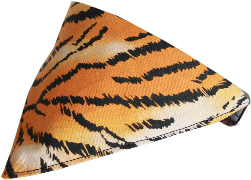 Tiger Print Bandana Pet Collar  Black Size 20