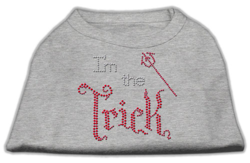 I'm The Trick Rhinestone Dog Shirt Grey Lg (14)