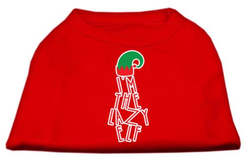 Lazy Elf Screen Print Pet Shirt Red Med (12)
