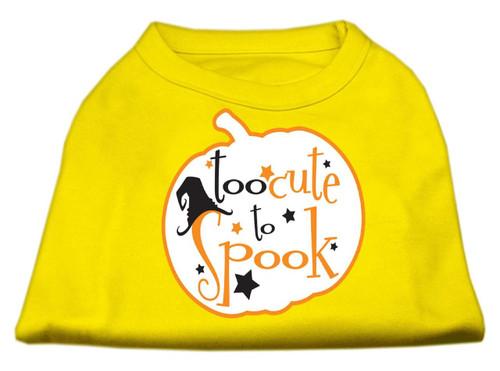 Too Cute To Spook Screen Print Dog Shirt Yellow Xs (8)