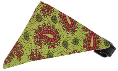 Lime Green Pretty Paisley Bandana Pet Collar Black Size 14