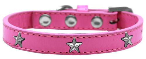 Silver Star Widget Dog Collar Bright Pink Size 14