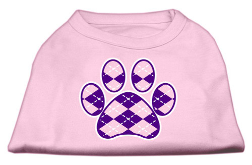 Argyle Paw Purple Screen Print Shirt Light Pink Med (12)