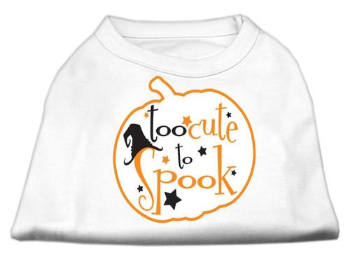 Too Cute To Spook Screen Print Dog Shirt White Xs (8)
