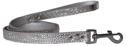 Plain Croc Leash Silver 3/4'' Wide X 4' Long