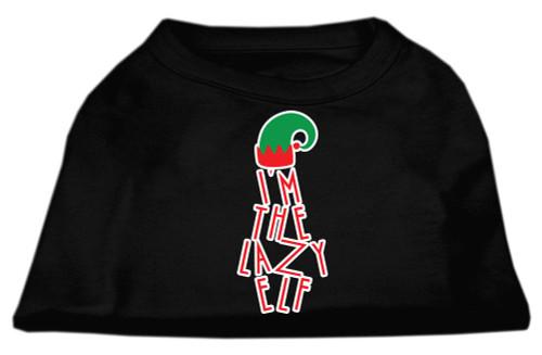 Lazy Elf Screen Print Pet Shirt Black Med (12)