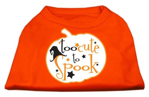 Too Cute To Spook Screen Print Dog Shirt Orange Xs (8)
