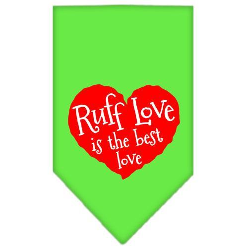Ruff Love Screen Print Bandana Lime Green Small
