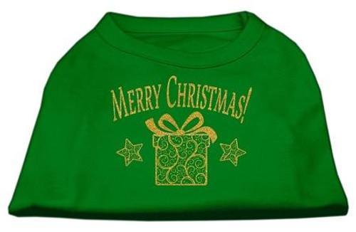 Golden Christmas Present Dog Shirt Emerald Green Lg (14)