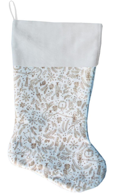 Cream Holiday Whimsy Christmas Stocking