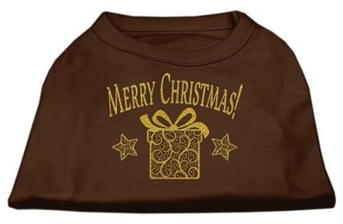 Golden Christmas Present Dog Shirt Brown Lg (14)