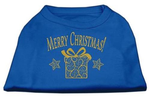 Golden Christmas Present Dog Shirt Blue Lg (14)
