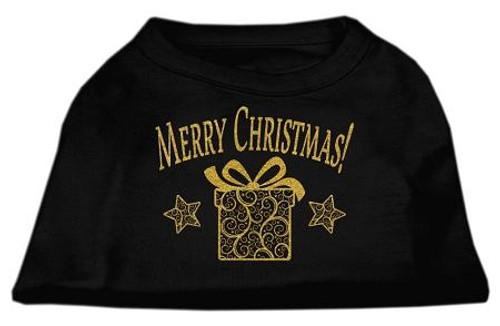 Golden Christmas Present Dog Shirt Black Lg (14)