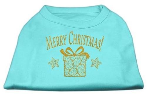 Golden Christmas Present Dog Shirt Aqua Lg (14)