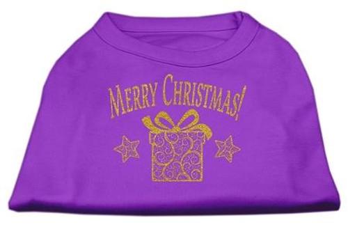Golden Christmas Present Dog Shirt Purple Lg (14)