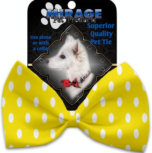 Yellow Polka Dots Pet Bow Tie