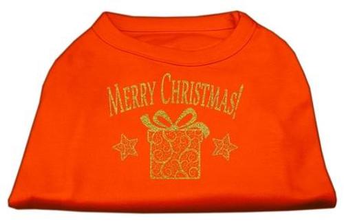 Golden Christmas Present Dog Shirt Orange Lg (14)