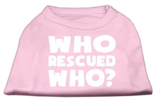 Who Rescued Who Screen Print Shirt Light Pink Xxl (18)