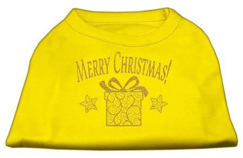 Golden Christmas Present Dog Shirt Yellow Lg (14)