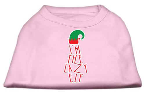Lazy Elf Screen Print Pet Shirt Light Pink Med (12)