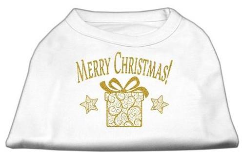 Golden Christmas Present Dog Shirt White Lg (14)